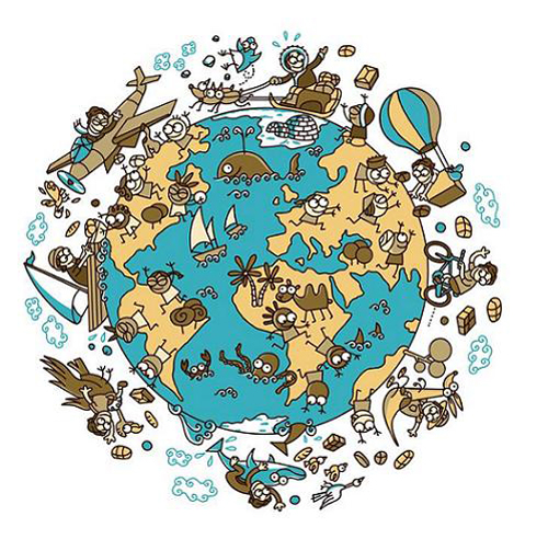 xVuelta al Mundo en 80 Días, dibujo de Mikel Urmenenta, de Kukuxumusu.